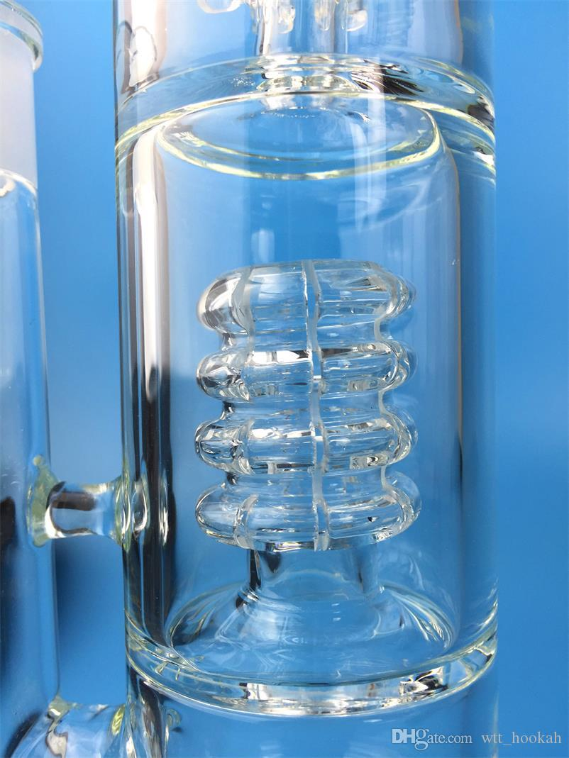 Hand Blown Glass bong water pipe Vase Perc Water Percolator Smoking Pipe turbine 4 arms 18.8mm Joint