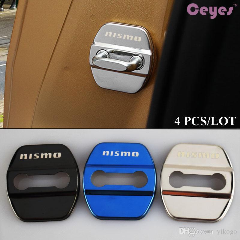 Voiture porte serrure couverture cas pour nismo nissan qashqai jeke x-trail tiida t32 almera porte serrure protecteur logo badges style de voiture