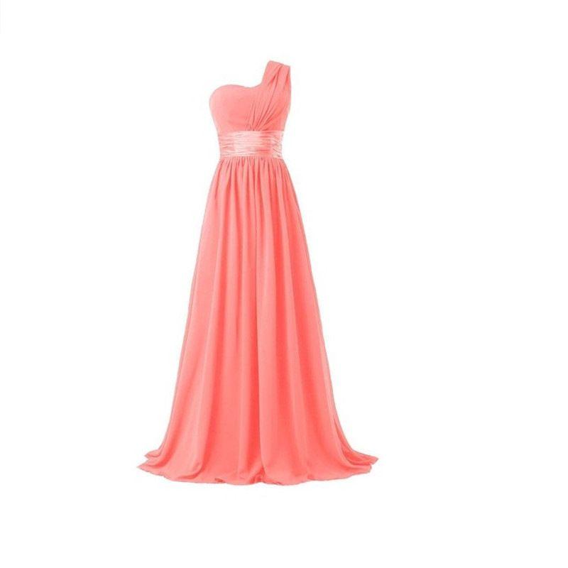 Cheap 2017 vestidos de fiesta Hot Sale One Shoulder Long Chiffon Bridesmaid Dresses Black/Red/Pink Party Gowns robe de soiree