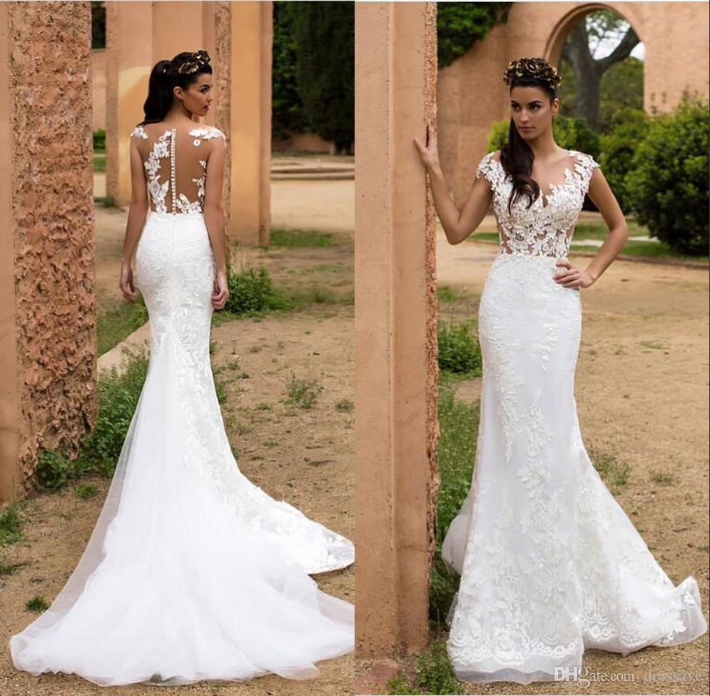 Lace Mermaid Wedding Dresses 2018 Sheer Illusion Bodice