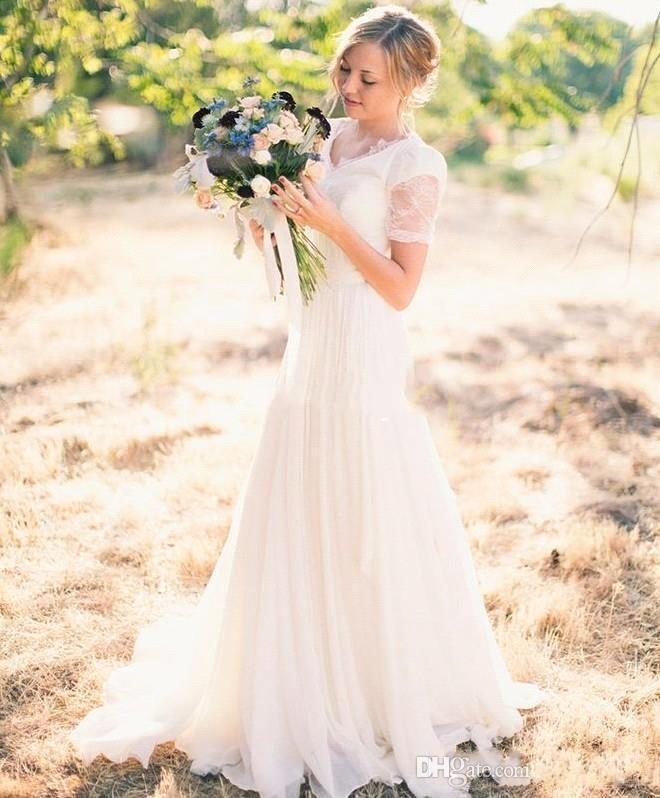 2017 nieuwe aankomst eenvoudige landelijke stijl een lijn trouwjurken v-hals korte mouwen kant sweep trein bruiloft bruidsjurken BA4353