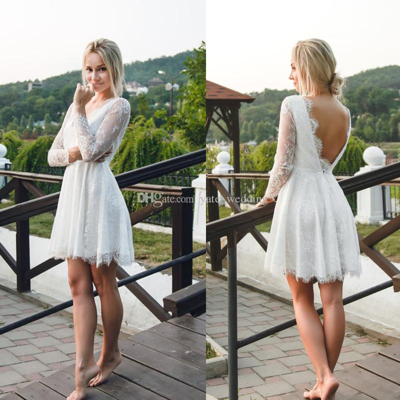 Discount Lace Short Wedding Dresses Sexy Backless Beach Long Sleeves Mini Gowns Petite Bridal Ball