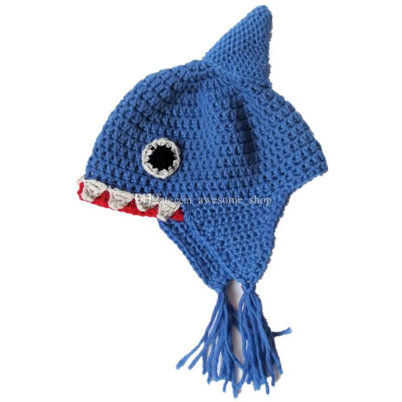 Großhandel Neuheit Blue Shark Earflap Hut, Handgemachte Stricken ...