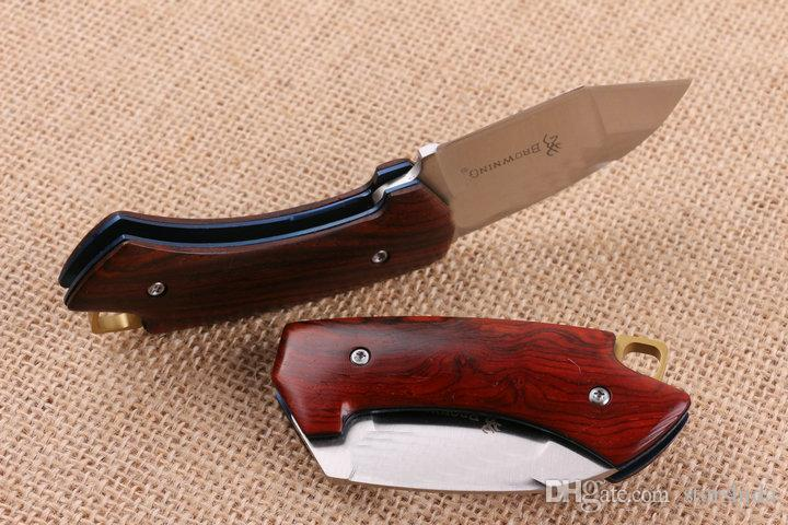 Newest Browning Little Eagle Tactical Folding Knife D2 Blade Wood Handle Camping Hiking Survival Pocket Knife Utility EDC Clasp Rescue Tools