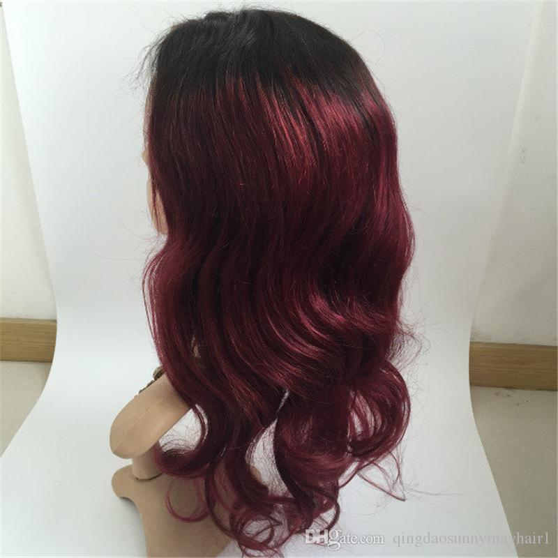 1b 99j Ombre Human Hair Full Lace Wig Burgundy Two Tone 1B 99J Glueless Lace Front Full Lace Wigs Ombre Hair Wig