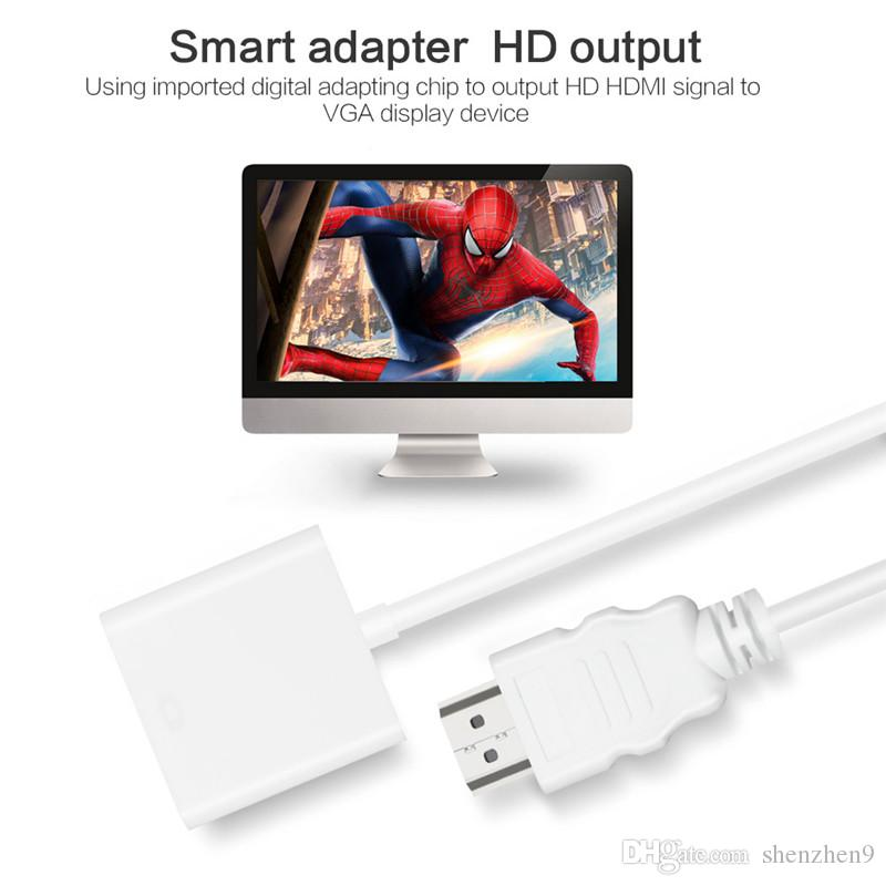 HDMI to VGA Converter Adapter with Audio Cable 1080P HDMI For TVbox BIU-rog Player Computer CAB149