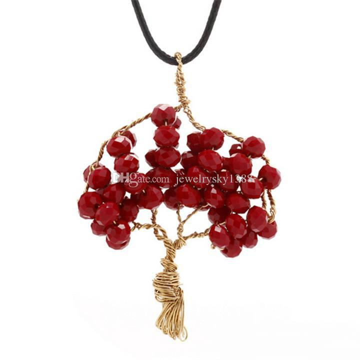 Creative Handmade Wire Wrapped Copper Tree Of Life Pendant Necklace Crystal Beads Wisdom Tree Necklaces Women Jewelry Xmas Gift