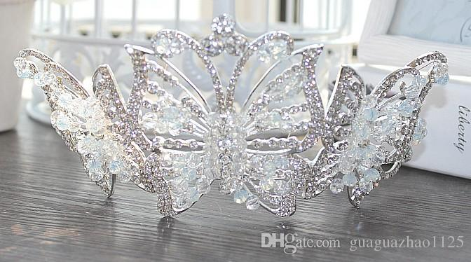 Korean large crystal butterfly bride crown handmade beaded headdresses wedding gift wedding dress accessories