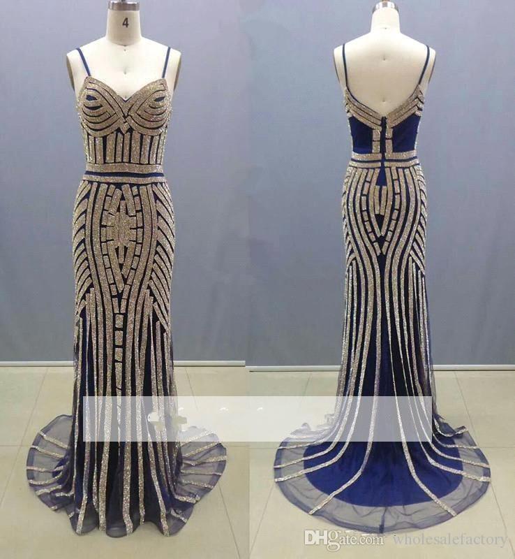 Bling Bling Mermaid Evening Dresses Spaghetti Straps Sheath Prom Dresses V Neck Backless Stunning Women Celebrity Dresses 2017 New