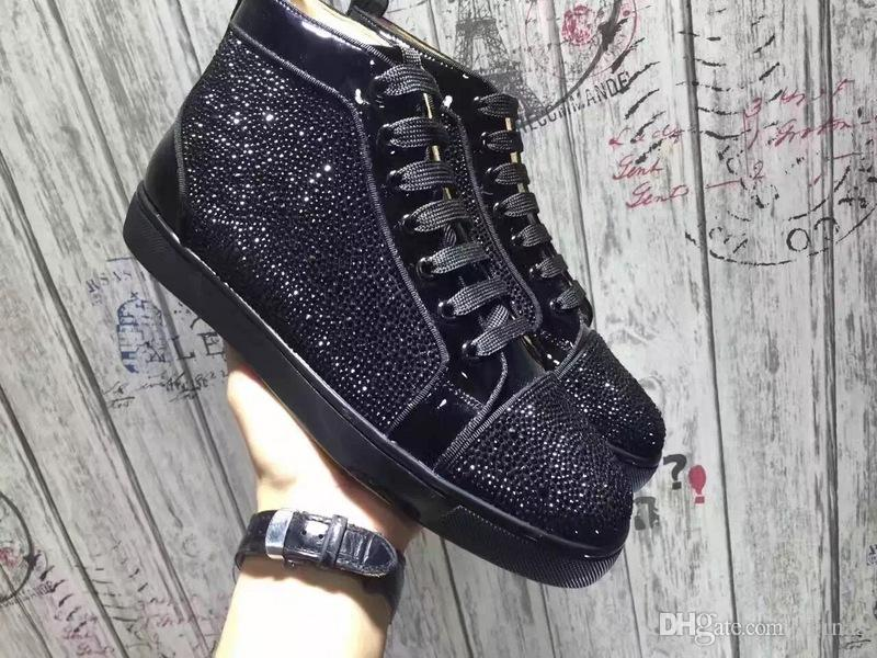 9ac1dd3d655546 Black Rhinestone Sneakers Shoes High Top Red Bottom Sneaker Shoes ...