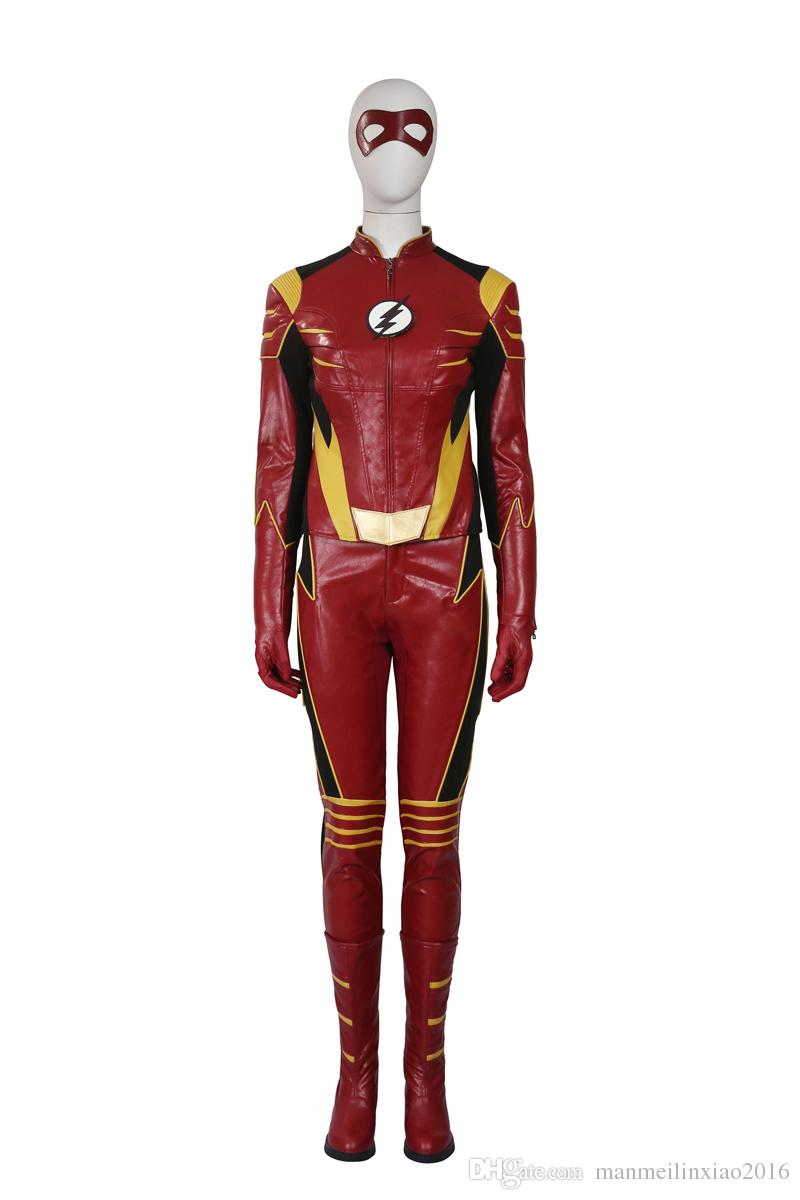 Newest Flash 3 Jesse Quick Cosplay Costume Customize Suit and Patch Gloves Pants Boots Any Size