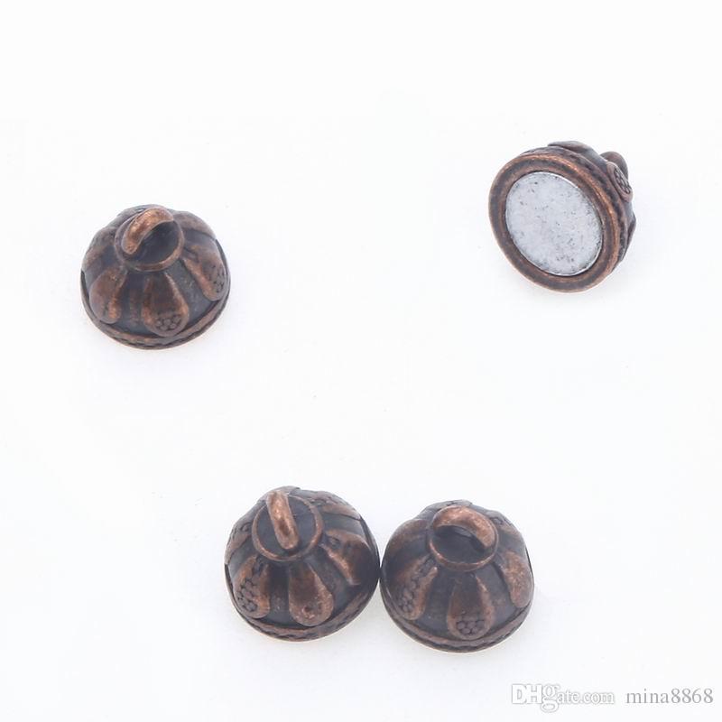 8 * 15mm loch 1,2mm runde kugel vintage kupfer schmuck machen zubehör magnetverschluss für schmuck diy magnet schnalle anschlüsse teile