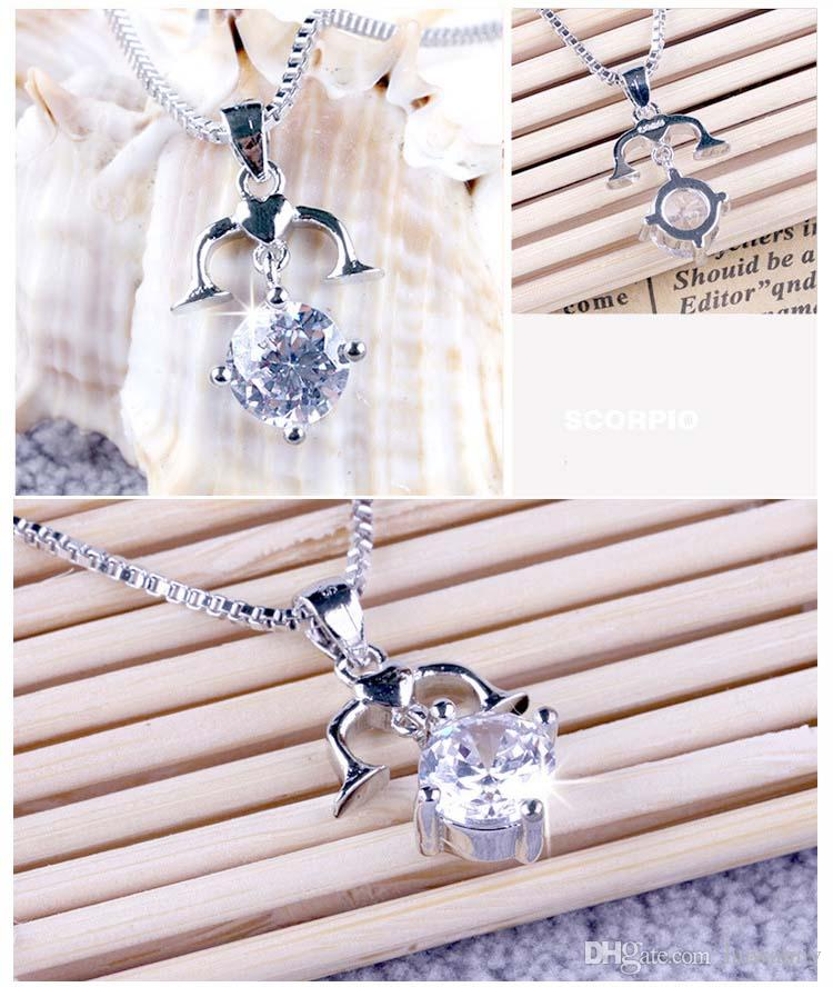 Silver Pendant Necklaces Hot Sale Crystal Pendants Chain Necklace For Women Girl Party Gift Fashion Jewelry Wholesale 0182WH
