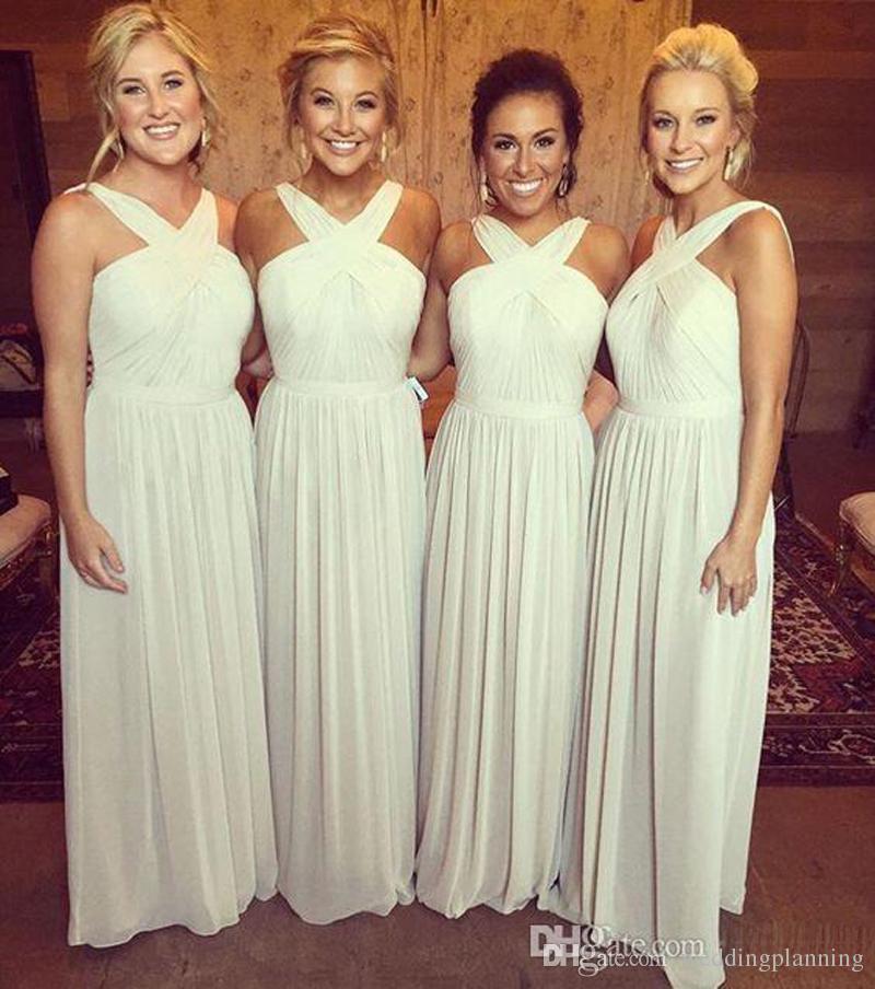 Серебряный шифон длинные платья невесты Холтер шеи Ruched складки горничной невесты свадебные платья гостей длина пола дешевые на заказ