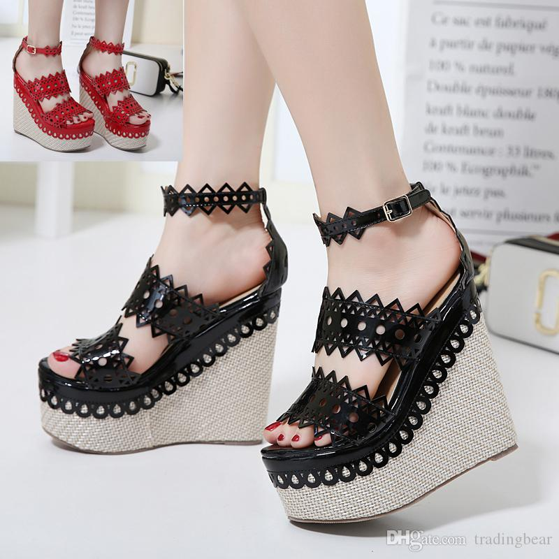 6b6e1c1688f 2017 Vivi Lena Red Black Straw Woven Lace Cut Platform Wedge Sandals Sexy High  Heel Shoes Size 34 To 40 White Sandals Wedge Heels From Tradingbear