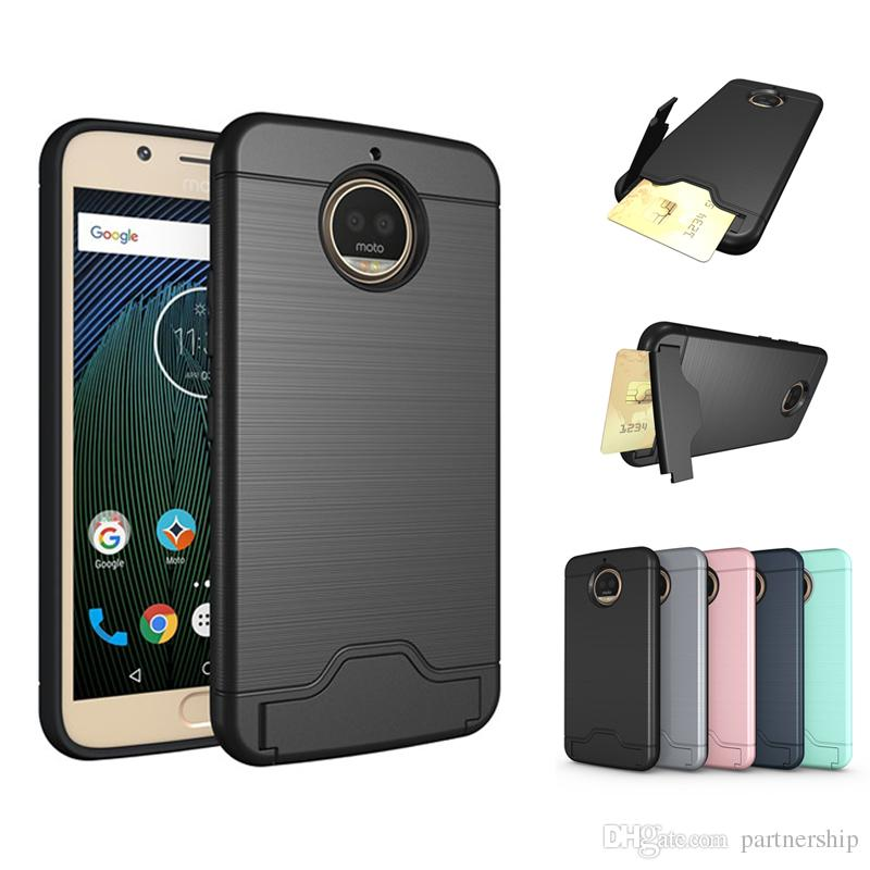 another chance d29f9 68bbd Armor Shockproof Kicstand Case For Motorola Moto G4 G6 G5s Plus Cases Cover  Card Holder Shock Proof Dual Layer Soft TPU Silicon Inner