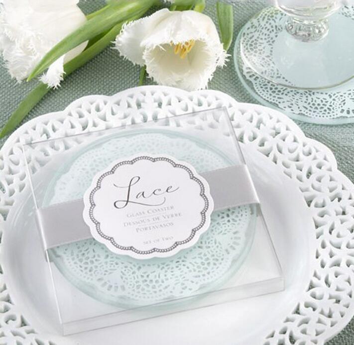Новое прибытие стеклянные подставки в кружевном дизайне свадебные подарки стеклянная чашка 2 шт. в одном пакете свадебный сувенир партия пользу