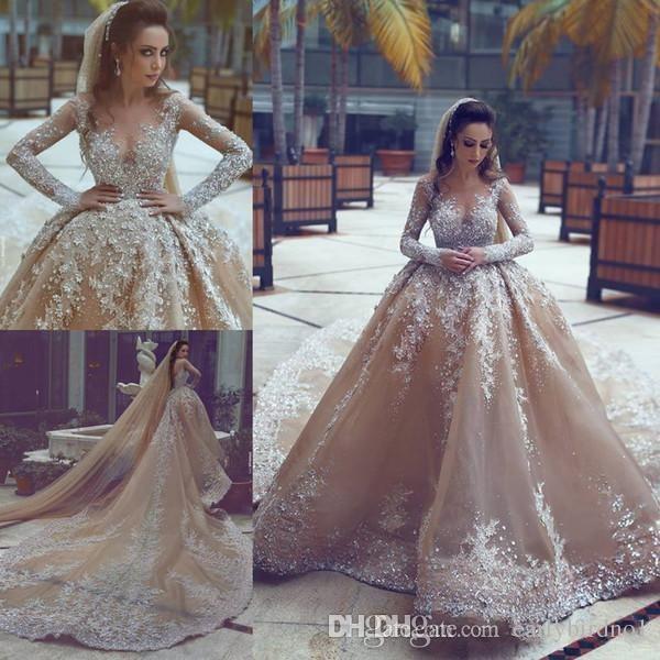 2018 Новый бисероплетение бальное платье Свадебные платья Онлайн со стразами бисером с длинным рукавом Sheer шеи свадебные платья продажа зашнуровать назад