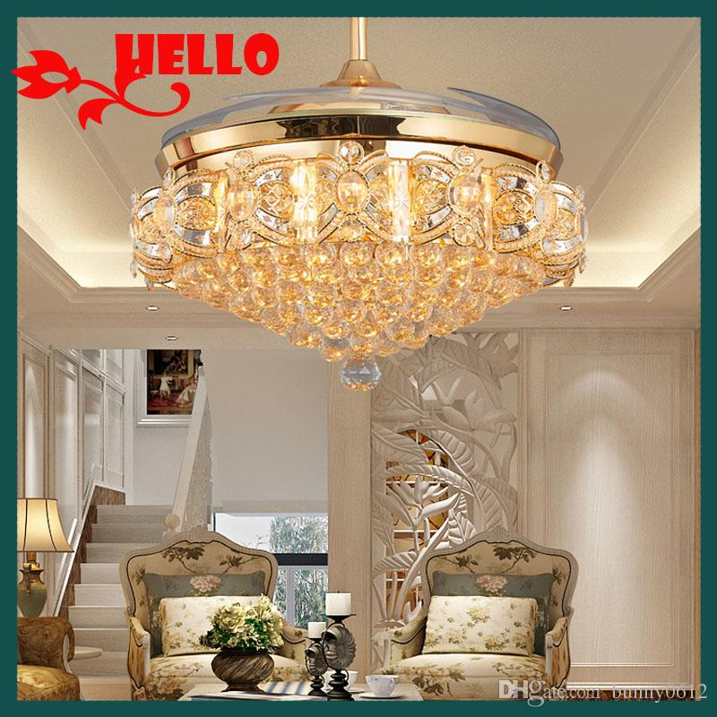 gold ceiling fan with light gold trim 2018 2017 stealth gold ceiling fan light stylish modern restaurant led folding crystal fans with lights living room bedroom from bunny0612