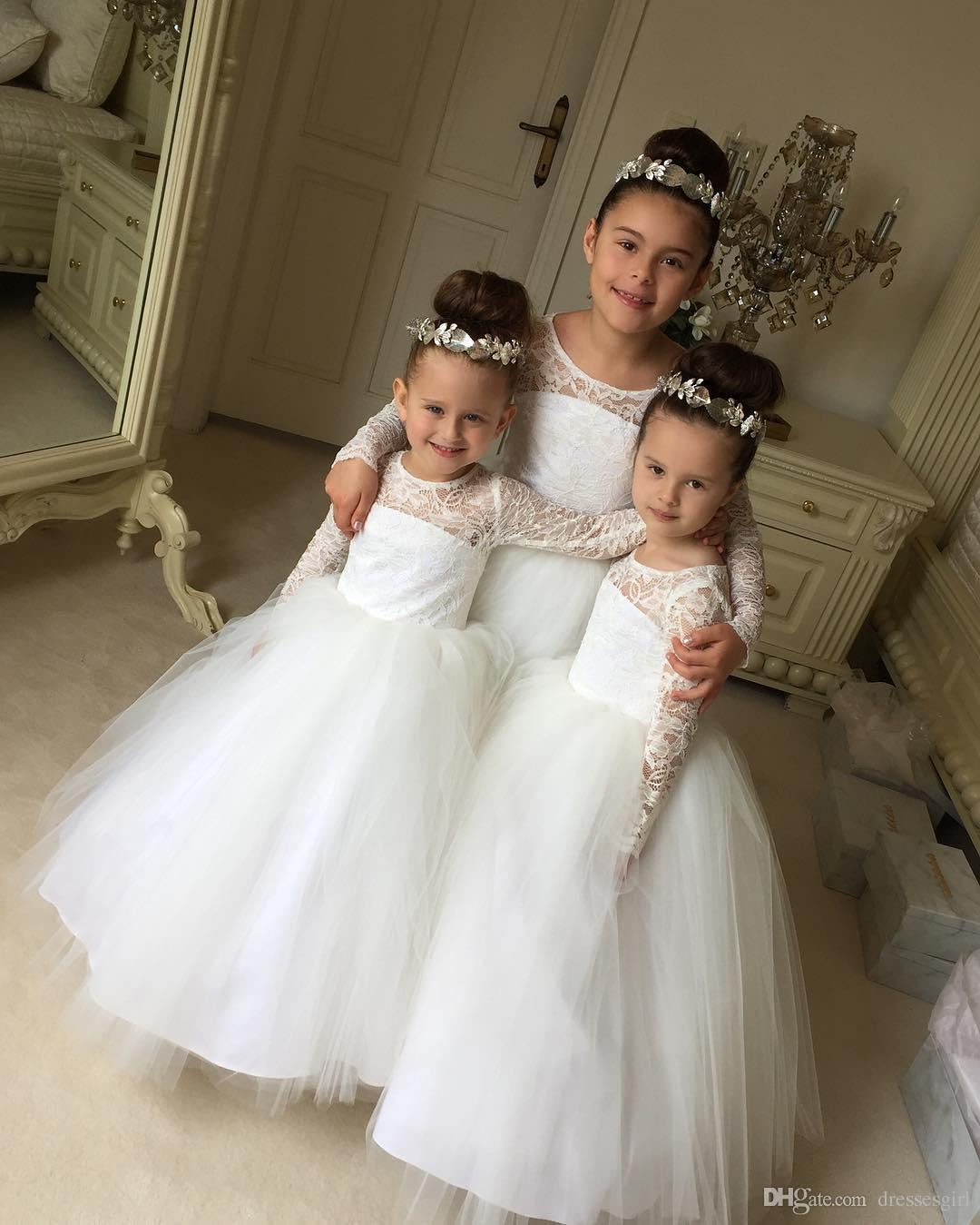 Little Girl Flower Girl Dresses With Lace Long Sleeves 2018 Pretty