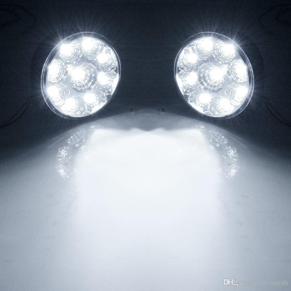 2x 9-LED Luz Branca Carro Nevoeiro Lâmpada Rodada Condução Correndo Daytime Head Light M00039 VPWR