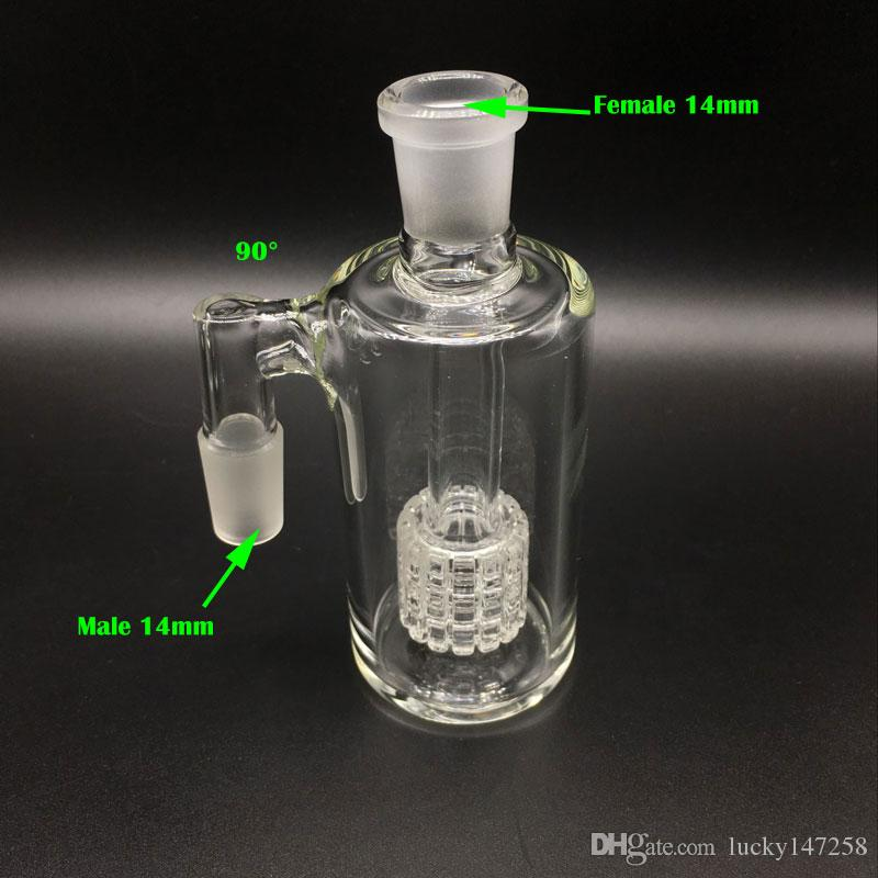 2017 New Glass Ash catcher 90 & 45 degrees 14.4mm 18.8mm matrix perc glass ash catcher bubbler Glass Water Pipe Oil Rigs