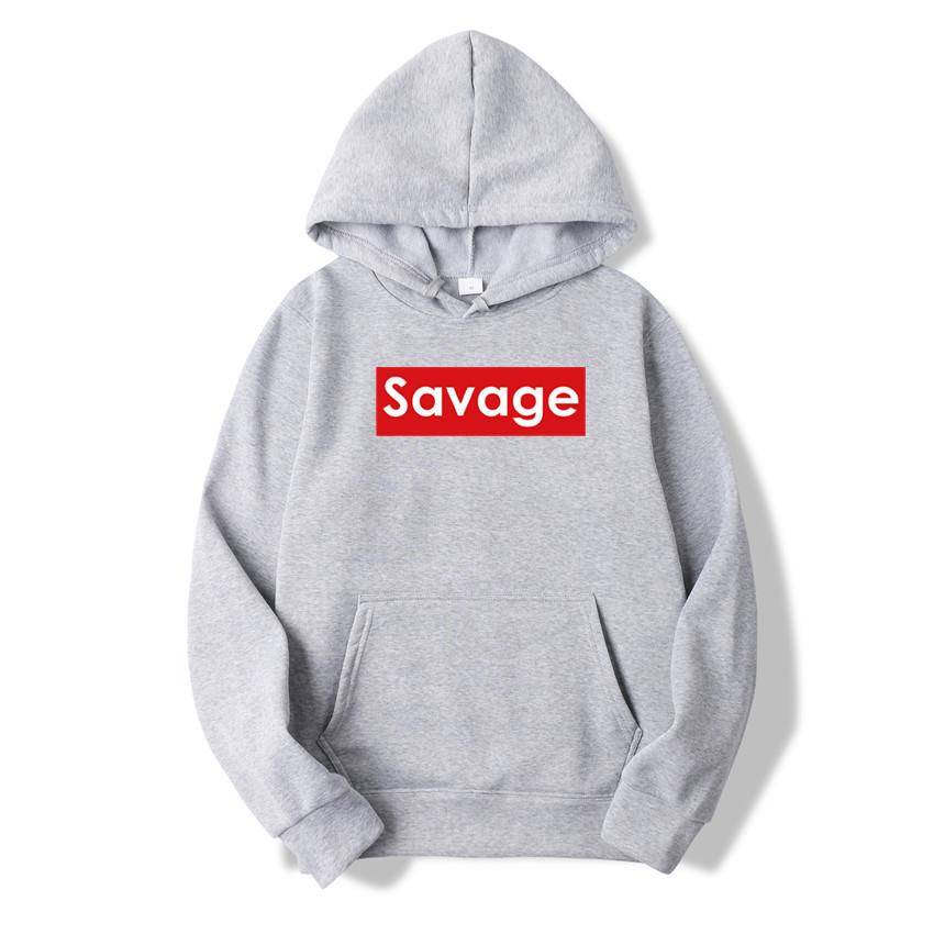 a82753a7c Wholesale- 2017 New Savage Hoodie Streetwear Hip Hop Blue light grey dark  grey black Hooded Hoody Mens Hoodies and Sweatshirts Size M-XXXL