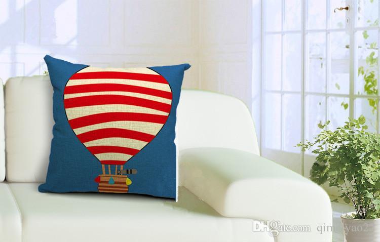 Karikatür Uçan Ev Sıcak Balon Yastık Örtüleri Keten Kare Dekoratif Yastıklar Ev Yatak Odası Koltuk yastık kılıfı için Yastıklar Kılıf atmak Kapaklar