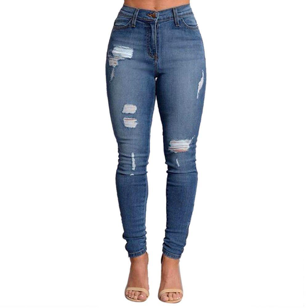 2018 2017 Slim Jeans For Women Skinny High Waist Jeans Woman Blue Denim Ripped Stretch Pencil ...