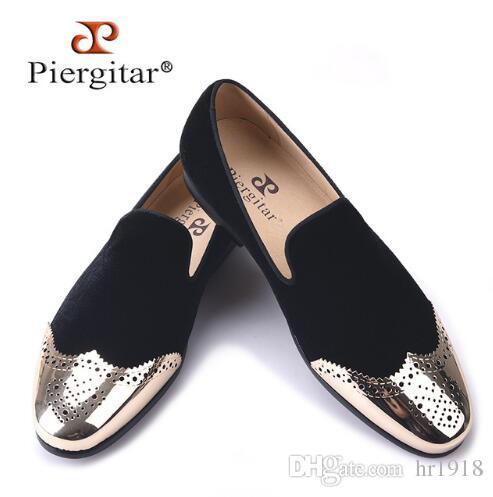 79504862a43 Piergitar 2017 New Black Velvet Shoes with Gold Bullock Buckle ...