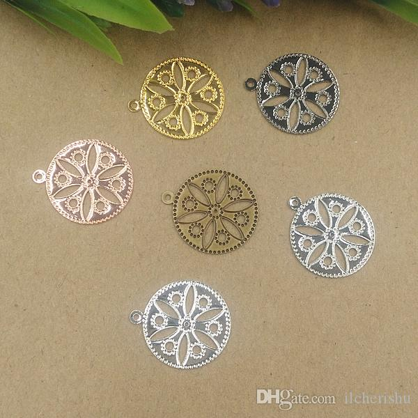 19mm antique bronze/silver/rose gold/gun black Copper filigree flower charms for jewelry making, round flat metal bracelet pendants findings
