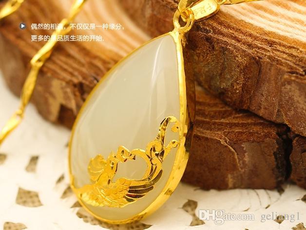 Золото инкрустированные Джейд капли белой воды талисман Феникс во втором пункте ожерелье кулон