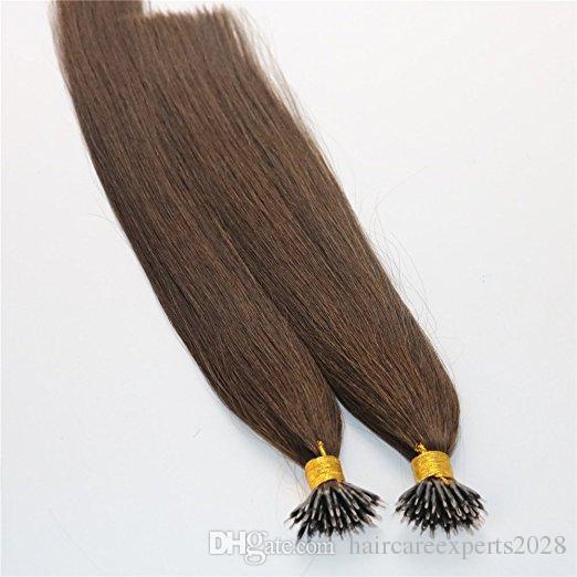 1g / str 100g Keratin Menschenhaarverlängerungen mit Nano Ringe # 4 Braun farbe Nano Ring Schleife Remy Haarverlängerungen
