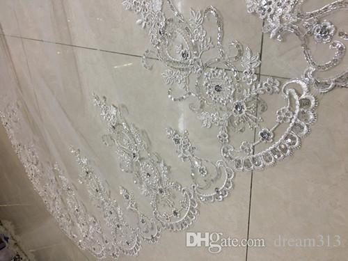 100% echtes Bild Weiß Elfenbein Hochzeit Schleier Eine Schicht Spitzenkante Kathedrale Länge Perlen Bridal Schleier mit Kamm