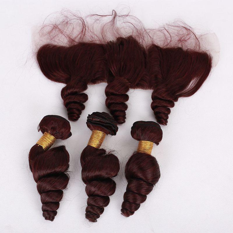 # 99j Orecchio all'orecchio Full Frontal del merletto con i capelli ricci sciolti della Borgogna Trama vergine malese Onda allentata Capelli tessere con pizzo frontale Colore