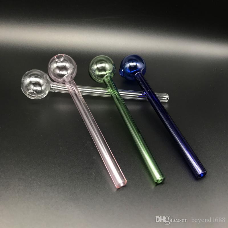 Tubulações de óleo de vidro azul-de-rosa 6.0inch 15CM Comprimento pirex de vidro queimador de óleo tubo transparente verde barato Burner Cano de água de mão Acessórios para fumar