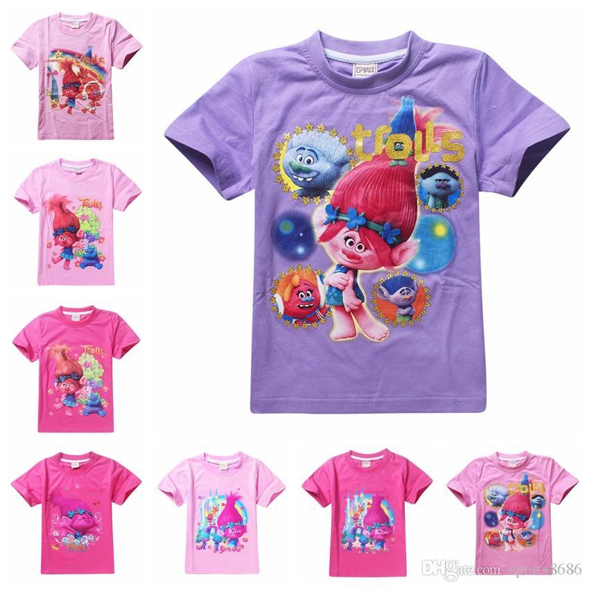 Compre T Shirt De Verão Das Meninas Do Estilo De 11 Camisetas T Shirt Da  Camisa Dos Trolls Da Boa Sorte Tops T Shirt Algodão As Roupas De Algodão Do  Algodão ... 2cb50993815eb