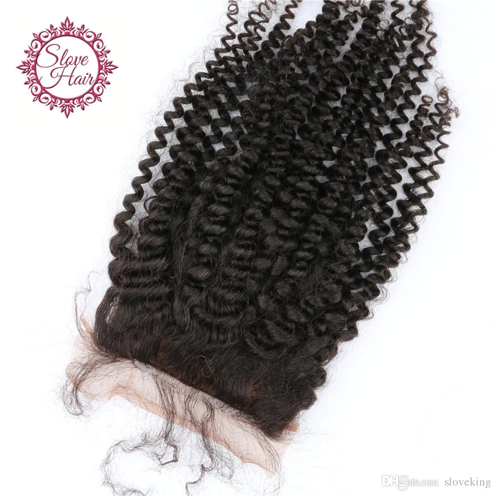 Top Quality Silk Base Closure Kinky Curly Virgin Human Hair Silk Closures With Baby Hair Free Middle 3 Part Silk Hair Closure
