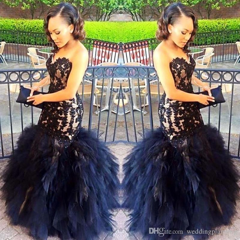 2017 sexy lange abendkleider meerjungfrau schatz perlen applikationen schwarz mädchen prom 2k17 prom party kleider rüschen rock plus größe dress