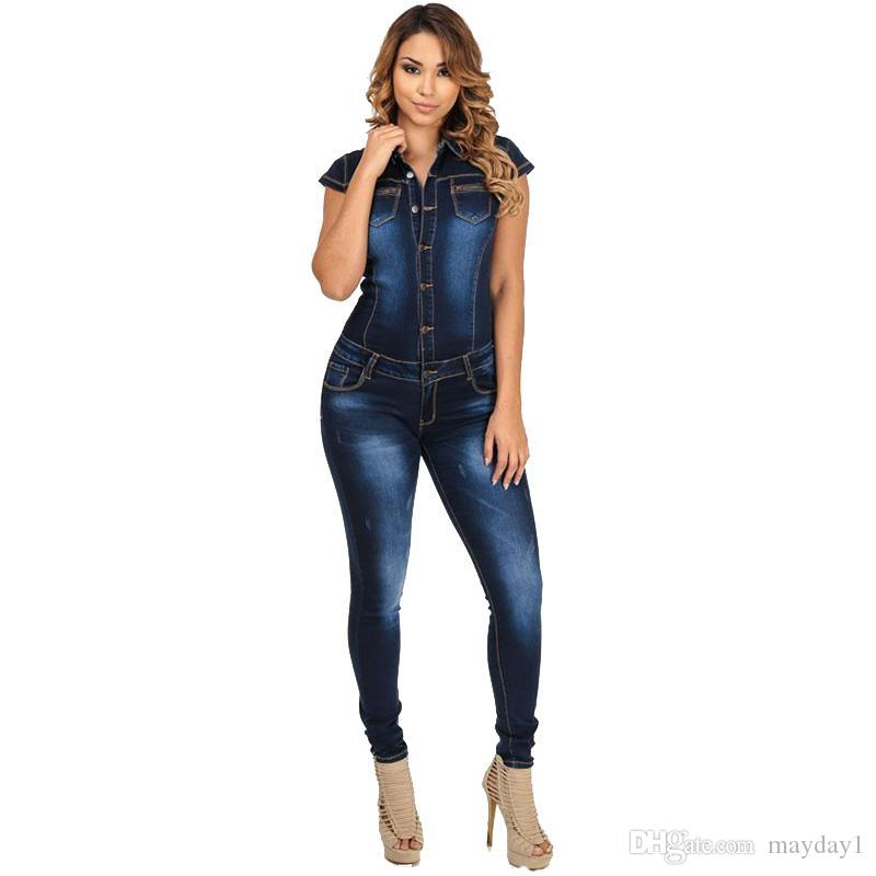 a6e2262a69 2019 2017 Summer Club Elegant Women Denim Long Blue Jean Jumpsuit Fashion  Short Sleeve Slim Jumpsuit For Women From Mayday1