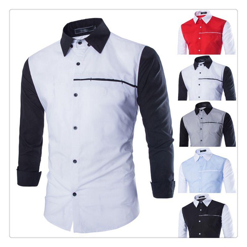 2017 Designer Shirts Men Autumn&Winter Fashion Hit Color Stitching ...