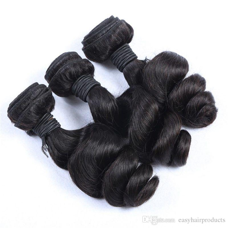 Peruvian Pre Plucked 360 Lace Frontal with 3 Bundles Loose Wave Hair Full Unprocessed Human Hair Extensions