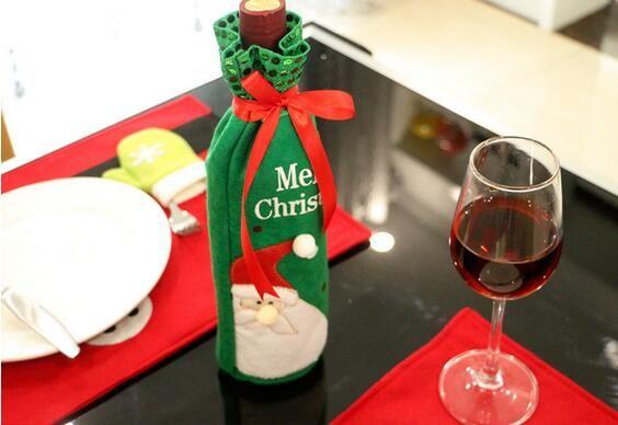 2017 Frohe Weihnachten Rotwein Flaschenabdeckung Taschen Weihnachten Tisch Dekoration Home Party Dekore Weihnachtsmann