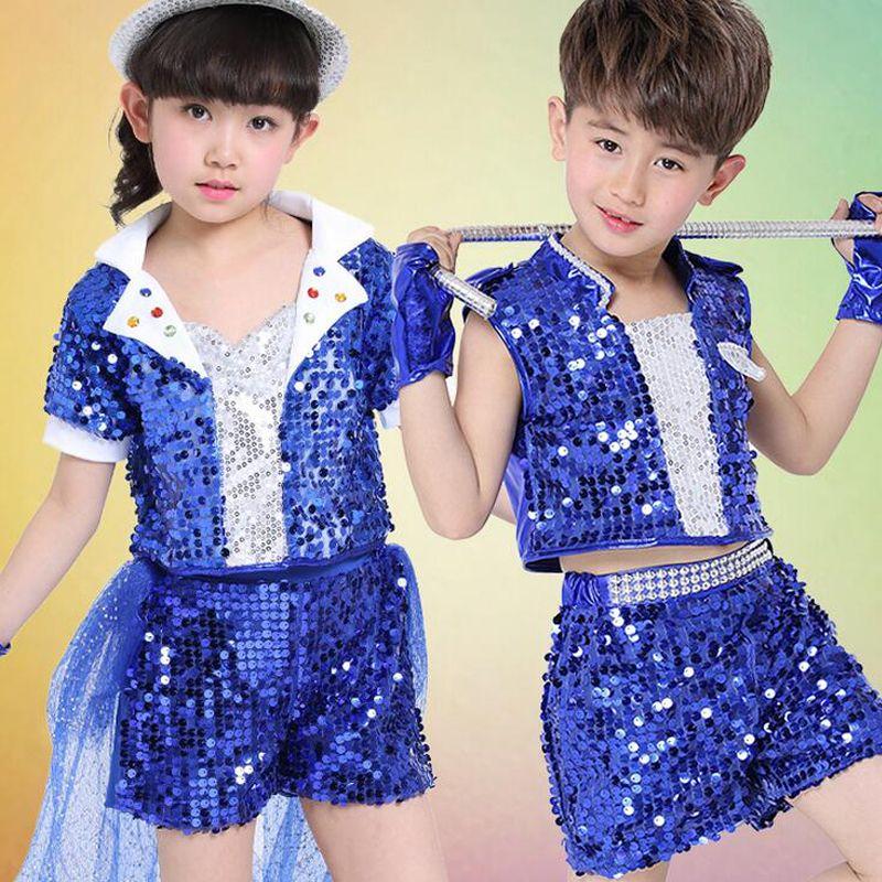 Compre Niños Chicas Salón De Baile Con Lentejuelas Tops + Pantalones  Disfraces Niños Azul Rojo Jazz Hip Hop Conjunto Moderno De Trajes De Baile  Conjunto De ... ed0a1a4edc9