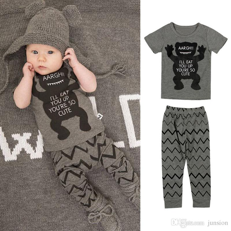 New Arrival Ins Baby Boys Girls Letter Sets Top T-shirt+Pants Kids Toddler Infant Casual Printed Short Sleeve T-shirt +Pants Leggings