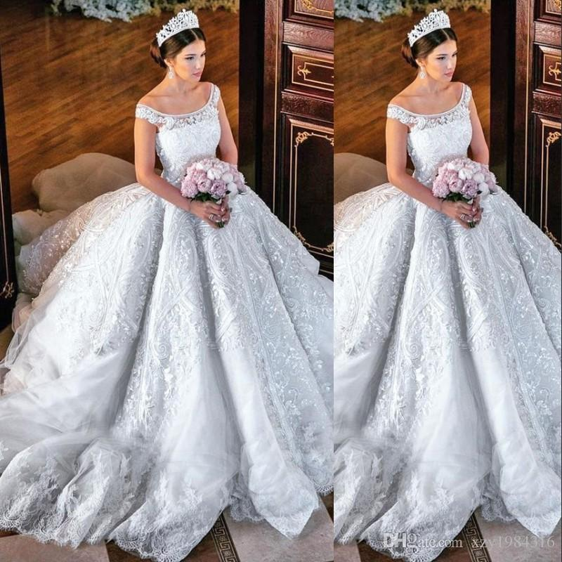 Gorgeous Princess Ball Gown Wedding Dress Sequins Lace Applique Off ...
