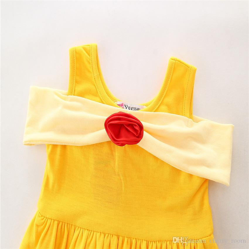 Estate Cartoon Baby Dress Ragazze Principessa Abiti Bianco Mickey Mermaid Bow Belle Bambini abito a-line C1703