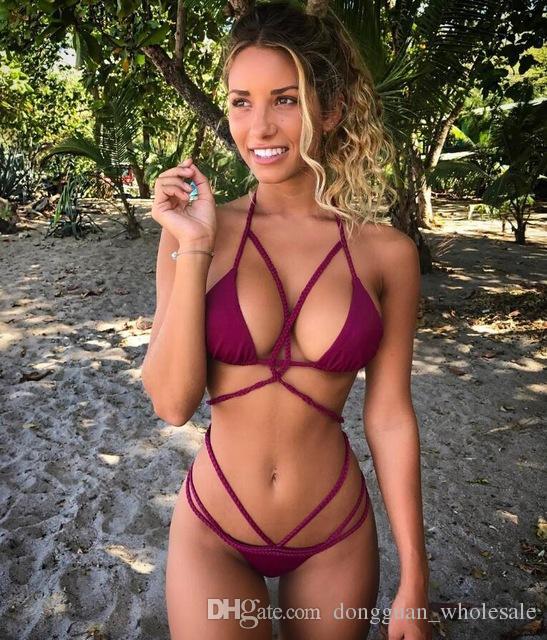 Бикини купальники купальник женщины 18ss бразильский бикини установить узел веревки купальный костюм Biquini пляжная одежда Майо де Bain Femme