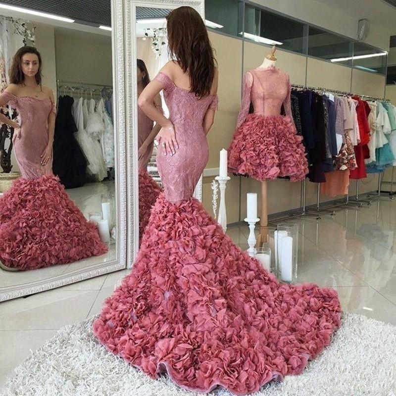 Charme Layered Sirène Robes de soirée sexy de l'épaule à manches courtes en dentelle longue queue robe de bal 2017 Nouvelle arrivée Celebrity Party Dress