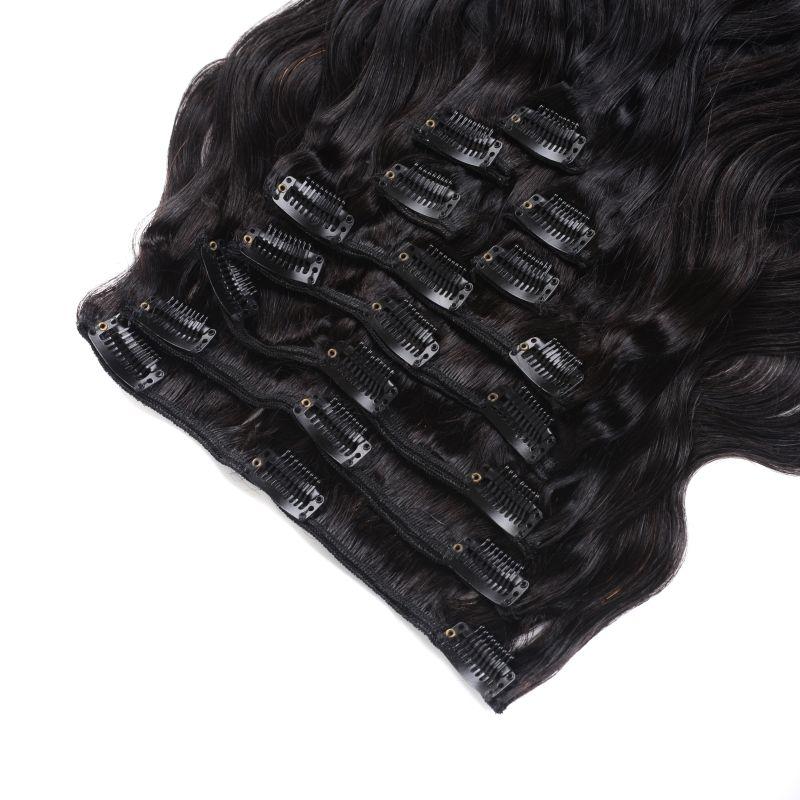 Indian Clip In Extensions / Clip de cabello humano 12-28 pulgadas Clip de extensión de cabello humano Natural Wave de Color